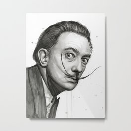 Salvador Dali Watercolor Portrait Metal Print