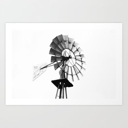 Windmill Black and White Art Print