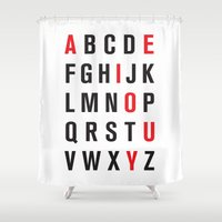 alphabet Shower Curtains featuring Alphabet by Eric Huecker
