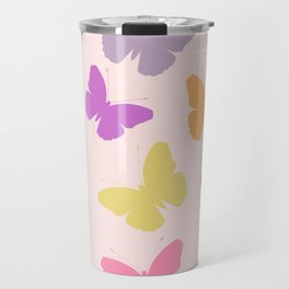 Multicoloured Butterflies on Pink Travel Mug