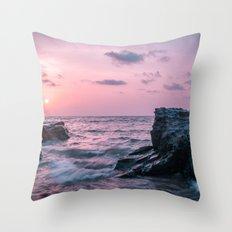 Ocean landscape at sunset Throw Pillow
