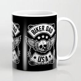 Biker Dad USA Motorcycle Skull Design Gift for Father Coffee Mug