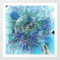 Aqua seashell -mother-of-pearl - Beautiful backdrop on #Society6 Art Print