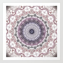 Bohemian White Detailed Mandala Design Art Print