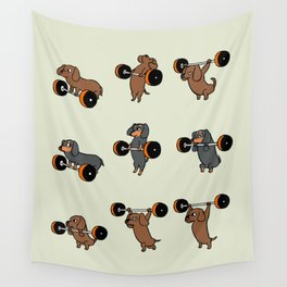 Olympic Lifting Dachshund Wall Tapestry