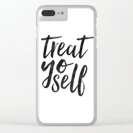 TREAT YO SELF,Inspirational Quote,Quote Prints,Treat Yo Self Sign,Bedroom Decor,Living Room Decor,Ki Clear iPhone Case