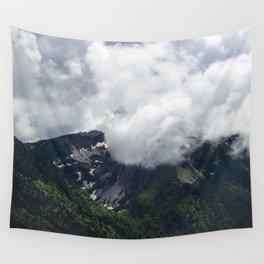 Clouds covering mountains Wall Tapestry