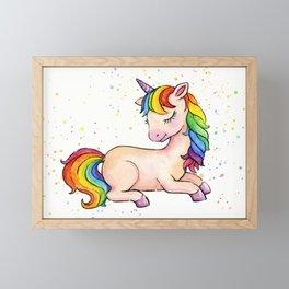 Sleeping Rainbow Unicorn Framed Mini Art Print