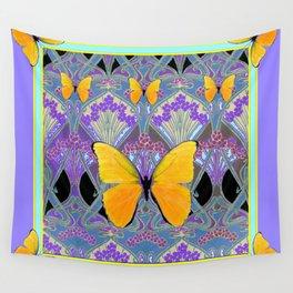Pastel Lilac yellow butterflies Art Nouveau Design Wall Tapestry