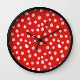 Basic red and white dots love valentines day minimal polka dot pattern Wall Clock