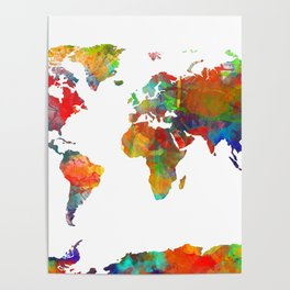 World map watercolor 3 Poster