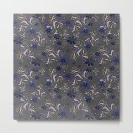 Blue flowers on gray Metal Print