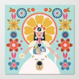 Her Bichos Yoga Canvas Print