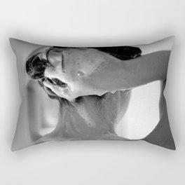 Woman Showering, 35mm Film, B&W Rectangular Pillow