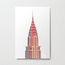 Manhattan Skyscraper Illustration - Pink, Orange, Green Metal Print