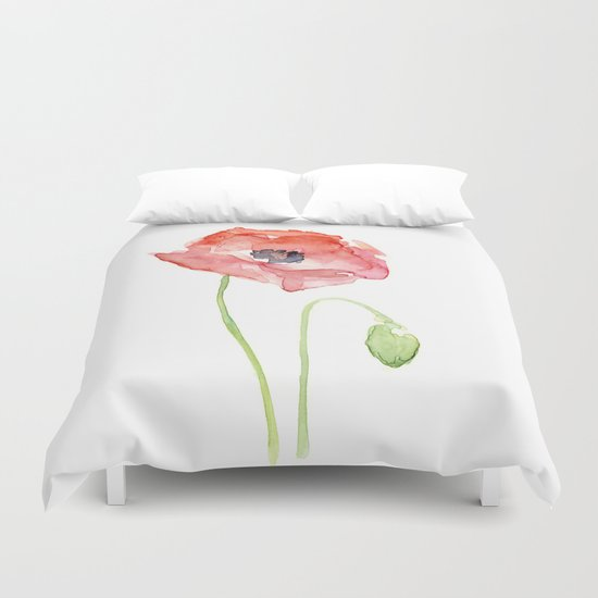 Red Poppy Watercolor Flower Floral Abstract Duvet Cover