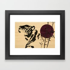 Japanese tiger marquetry art Framed Art Print