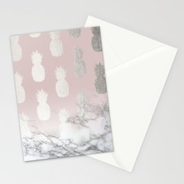Golden Pineapple Madness on Marble Stationery Cards