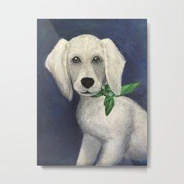 White Lab Pup Metal Print