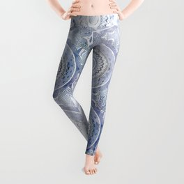 Blue Watercolor Mandala Painting with Word Balance Leggings
