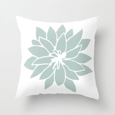 Flower Forest Fern Green on White Throw Pillow