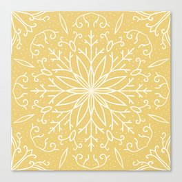 Single Snowflake - Yellow Canvas Print