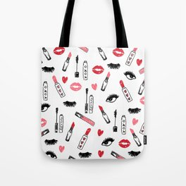 Makeup Print - mascara, beauty, lipstick, eyes, lashes, girls, women, makeup print,beauty decor Tote Bag