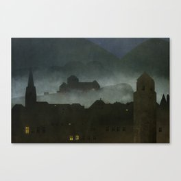 small town with castle Canvas Print