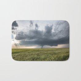 High Risk - Wide Angle View of Tornado in Kansas Bath Mat