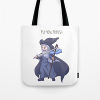 lotr Tote Bags featuring Gandalf Chibi LOTR Hobbit  by ParallelPenguins