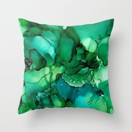 Into the Depths of Sea Green Mysteries Throw Pillow