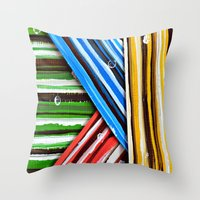 planes Throw Pillows featuring Striped Planes by Claudia McBain