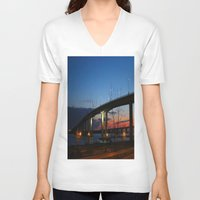 bridge V-neck T-shirts featuring Bridge by Alyssa Gioia