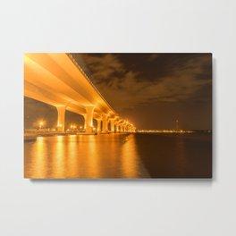 Glowing Bridge Over the Waterway Metal Print