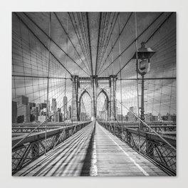 NEW YORK CITY Brooklyn Bridge | Monochrome Canvas Print