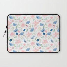 Blush Pink and Dusty Blue Watercolor Florals Laptop Sleeve