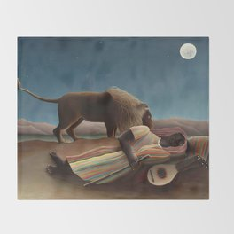 The Sleeping Gypsy by Henri Rousseau Throw Blanket