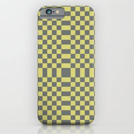 enVOGUE light yellow and medium grey checkerboard pattern iPhone Case