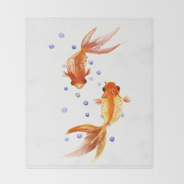 Goldfish, two fish, Koi Asian Style watercolor art Throw Blanket