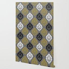 Decorative Damask Pattern BW Gray Gold Wallpaper