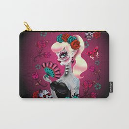 Rockabilly Blonde Sugar Skull Girl Carry-All Pouch