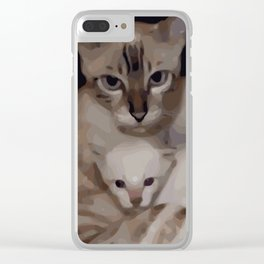 Luna the snow bengal cat with her kittens Clear iPhone Case