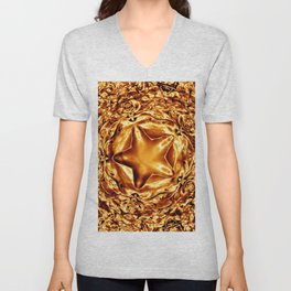 Elegant Shiny Copper Gold Christmas Star Unisex V-Neck