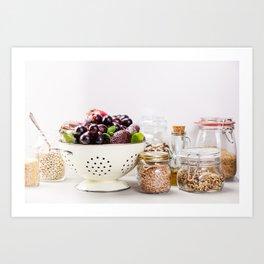 fruits, vegetables, grains, legumes and nuts Art Print
