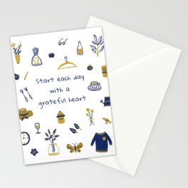 Start Each Day With a Grateful Heart - Cute things Stationery Cards