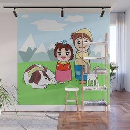 Kokeshis Heidi and Peter Wall Mural