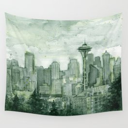 Seattle Skyline Watercolor Space Needle Emerald City 12th Man Art Wall Tapestry
