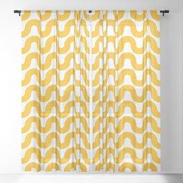 Wavy in Gold Sheer Curtain