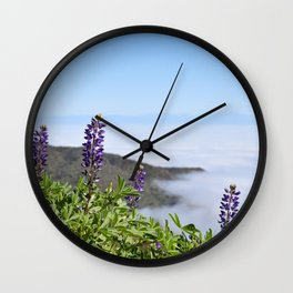 Foggy Lupines Wall Clock