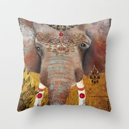 Gilded Elephant of Jaipur Throw Pillow